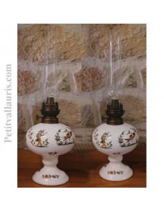 Lampe bec à pétrole décor Tradition Vieux Moustiers polychrome(montage au choix)