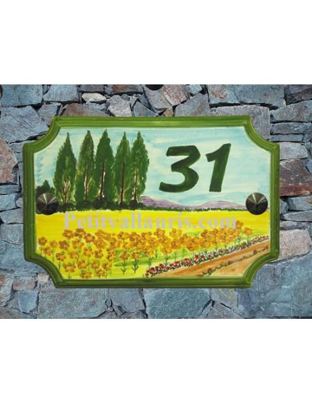 Plaque de Maison en céramique aux angles incurvés motif artisanal champs de tournesols + inscription personnalisée