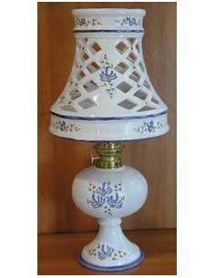 Lampe bec à pétrole avec abat-jour décor Fleuri bleu