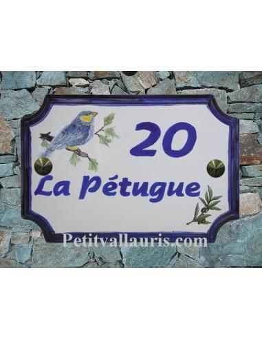 Plaque de Maison rectangle décor et texte personnalisés mésange inscription et bord bleus