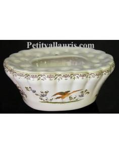 Pique Fleur ovale décor Tradition Vieux Moustiers polychrome
