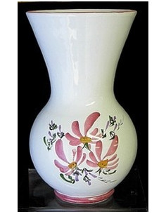 Vase Nadine en faïence décor Fleuri rose Taille 1