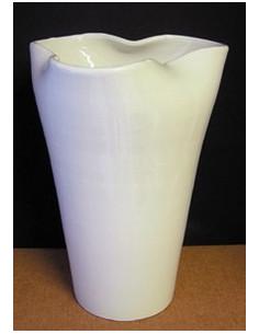 Vase glaïeul en faïence émaillé uni blanc