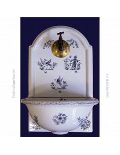 Fontaine murale décor Tradition Vieux Moustiers bleue taille 1