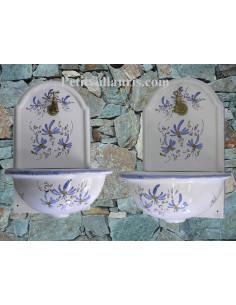 Fontaine murale décor fleur bleue taille 2