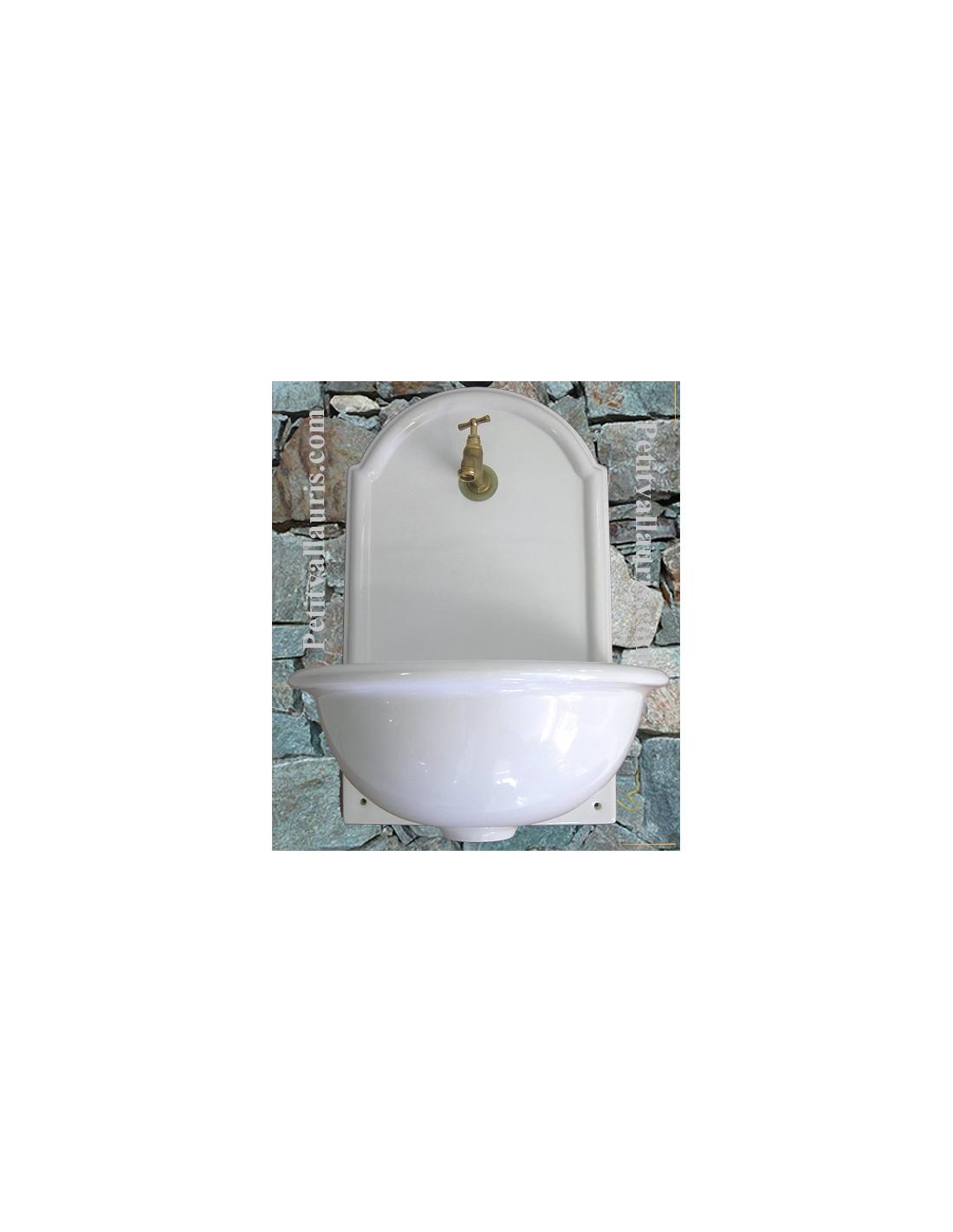 Fontaine lave main murale en c ramique unie blanche mod le for Ceramique murale blanche