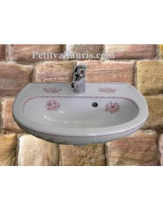 Lave-main modèle Odyssee décor Tradition Vieux Moustiers rose