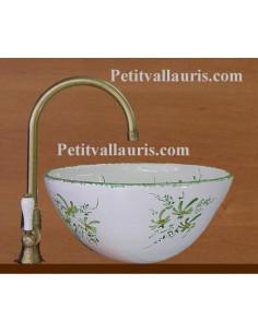 Vasque conique en faïence décor fleurs vertes