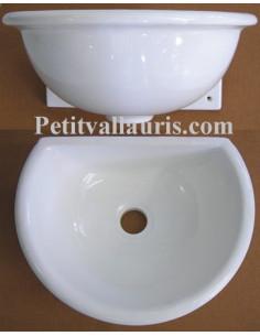 Vasque murale en faïence unie blanche émaillée taille 2
