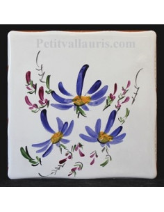 Carreau décor fleuri bleu 10 x 10 cm