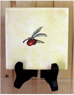 Carreau décor semis n°1 olives rouge 10 x 10 cm