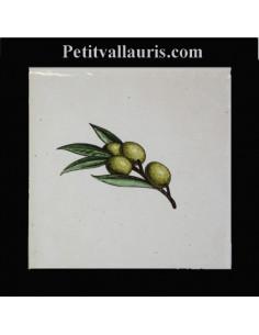 Carreau décor brin olives vertes 10 x 10 cm