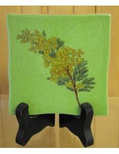 Carreau décor mimosas taille 1 sur fond vert 10 x 10 cm