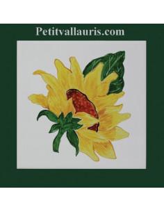 Carreau décor Tournesol 15 x 15 cm