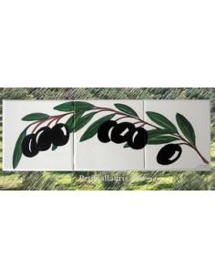 Fresque sur 3 carreaux brin d'olives 15 x 15 cm côté gauche