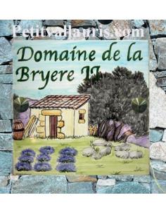 Grande plaque de maison en céramique modèle carrée motif artisanal cabanon,oliviers et lavandes + personnalisation