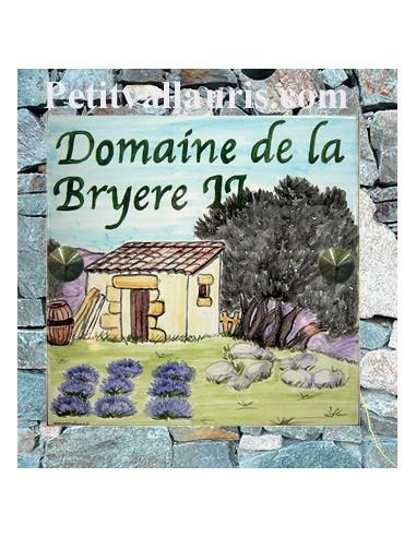 Plaque texte et décor personnalisé pour votre maison décor cabanon,oliviers et lavandes texte vert