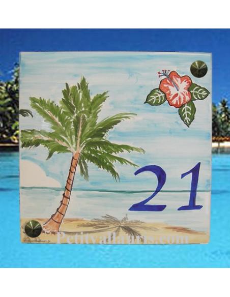 Grande plaque de maison en céramique modèle carrée motif artisanal cocotier + plage + hibiscus + inscription personnalisée