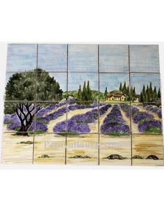 Fresque en céramique décor Champs de lavande et olivier1370