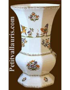 Vase Medicis Taille 1 en faïence décor Tradition Vieux Moustiers polychrome