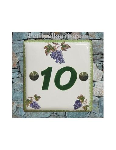 Numéro de rue ou de maison décor grappe de raisin pose horizontale chiffre vert