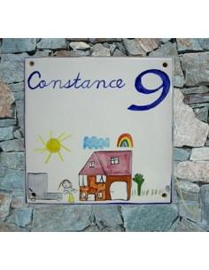 Plaque texte et décor personnalisé pour votre maison décor d'après dessin d'enfant texte bleu