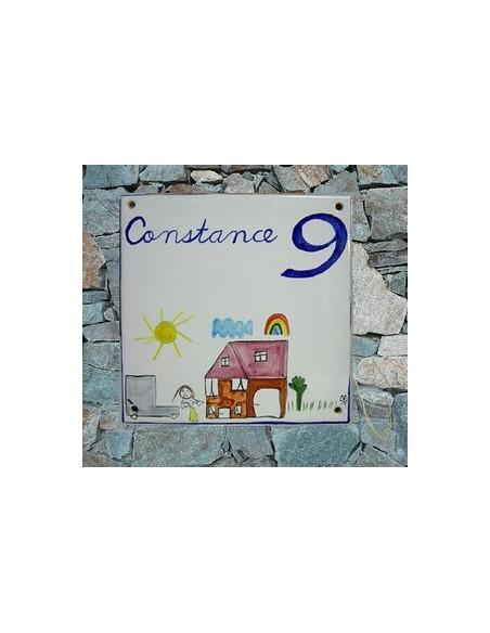 Grande plaque de maison en céramique modèle carrée motif d'après dessin d'enfant texte personnalisé