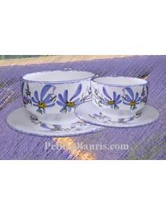 Tasse à thé et sous tasse décor Tradition Vieux Moustiers polychrome