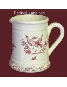 Pot à lait droit grand mère décor Tradition Vieux Moustiers rose