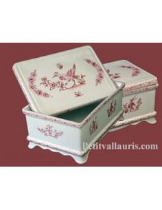 Boîte à sucre décor Tradition Vieux Moustiers rose