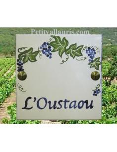 Plaque texte et décor personnalisé pour votre maison décor treille grappe de raisin texte bleu