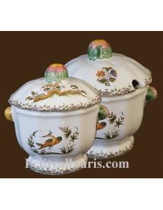 Sucrier confiturier décor Tradition Vieux Moustiers bleu