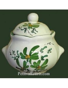 Boîte à sucre décor Fleuri vert