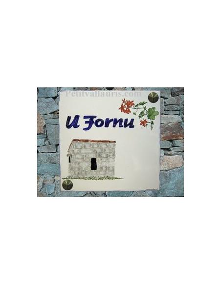 Grande plaque de maison en céramique modèle carrée motif artisanal four a pain en granit + personnalisation