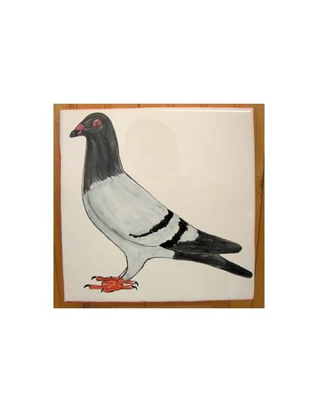 Grande plaque de maison en céramique modèle carrée motif artisanal pigeon avec ou sans texte personnalisé