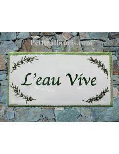 Plaque de Maison en céramique émaillée décor rameaux d'oliviers aux angles + inscription personnalisée