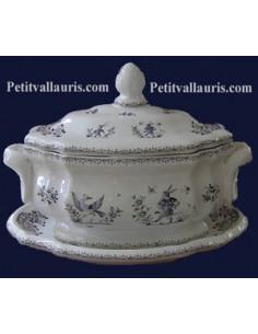 Petite soupière de style avec son assiette décor Tradition Vieux Moustiers bleu