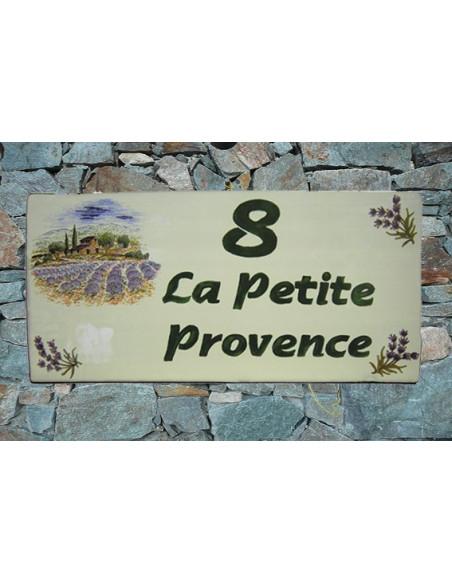 Plaque de Maison rectangle décor bastide champs de lavandes et brins inscription personnalisée bord vert
