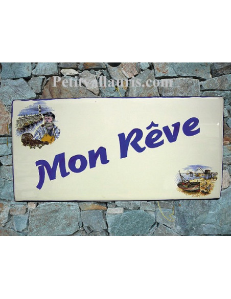 Plaque de Maison rectangle en céramique décor marin pécheur et chalut + inscription personnalisée