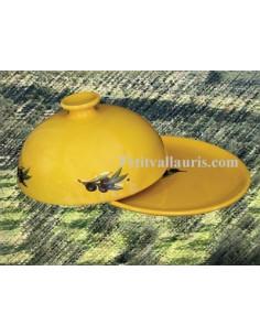 Cloche à fromage avec plateau décor Fleur orange et verte