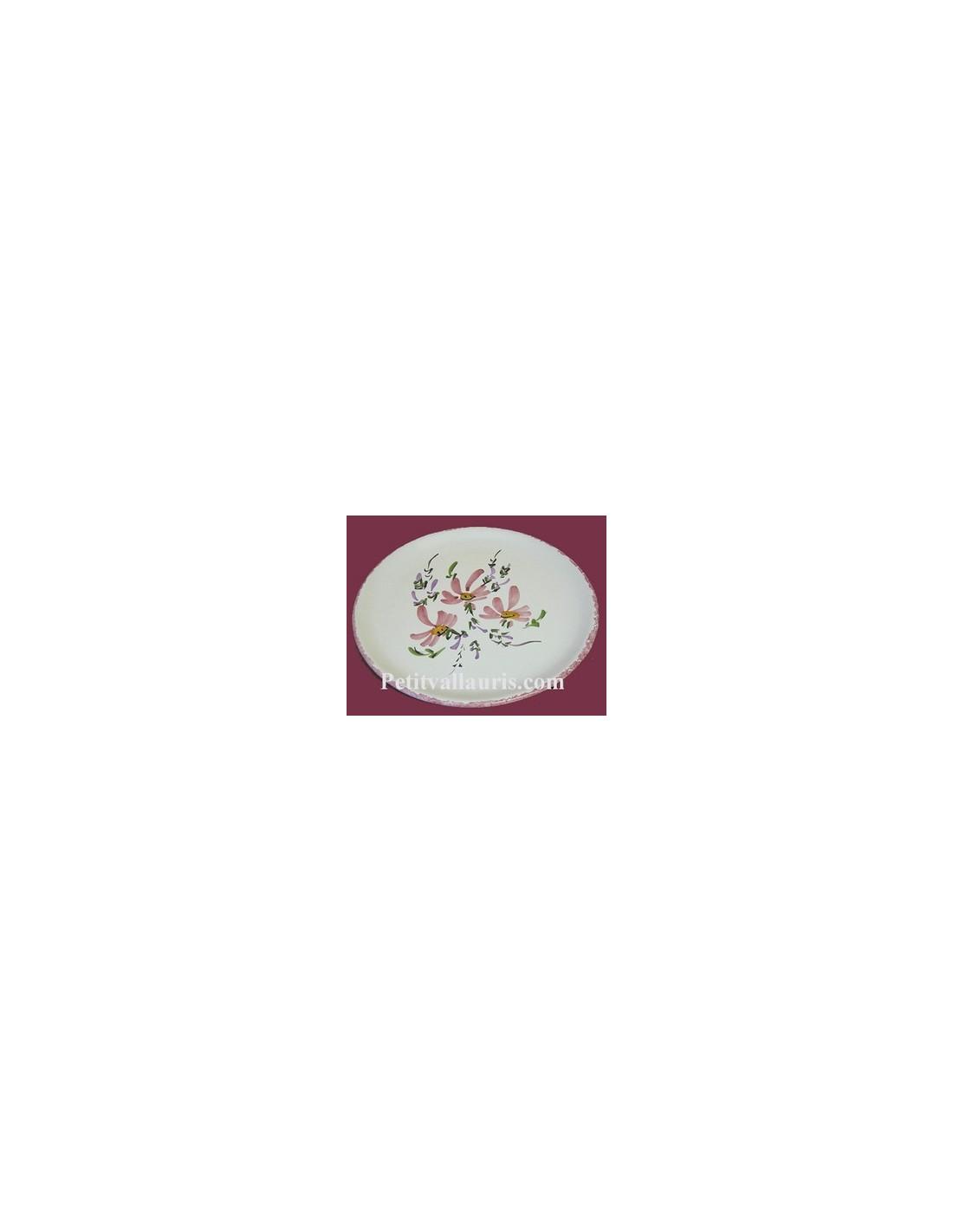 Assiette plate en fa ence d cor fleuri rose le petit for Le petit vallauris