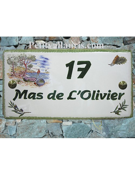 Plaque de Maison rectangle décor calanques et brins d'olivier inscription personnalisée et bord vert