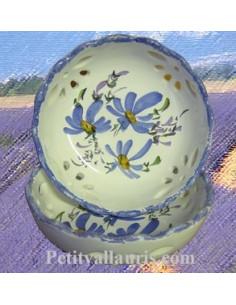 Coupelle dentellée ajourée décor Fleuri bleu