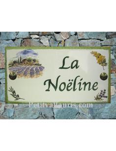 Plaque de Maison rectangle décor mas provençal mimosas olives et lavandes inscription personnalisée bord verte