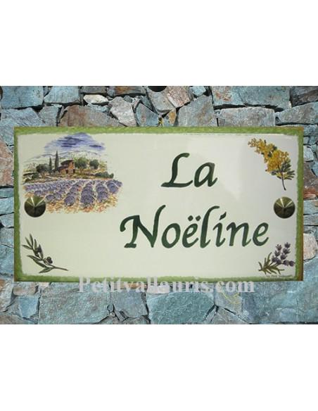 Plaque de Maison rectangle en céramique décor mas provençal mimosas olives et lavandes + inscription personnalisée