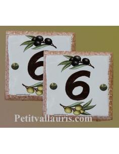 Numéro de maison décor brins d'olives vertes et noires pose horizontale bord ocre