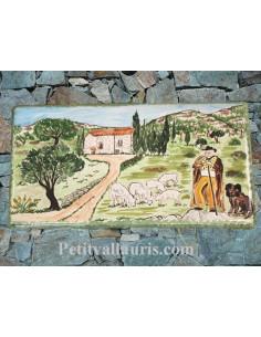 Plaque pour maison en céramique décor Berger, Mouton et Ferme