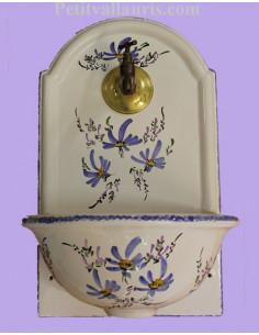 Fontaine murale décor fleur bleue taille 1