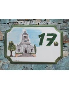 Plaque de Maison rectangle décor Eglise Saint Michel