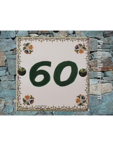 Numéro de Maison chiffre vert décor tradition vieux moustiers